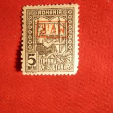 Timbru Ajutor supratipar MViR in cartus rosu ranversat 1917 ,cu sarn.