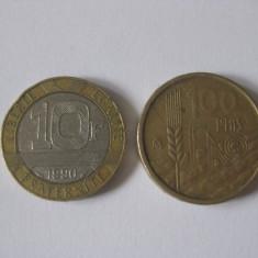 2 MONEDE COLECTIE+10000 LEI 1999