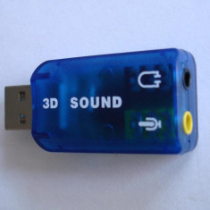 Placa de sunet pe USB 2.0, 3D Audio USB Sound Card Adapter Virtual 5.1 ch