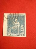 Timbru bleu Mauritiu 1858,fara val.nominala ,Fals ,stamp.