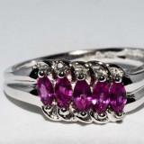 Superb inel aur alb 18K cu rubine naturale, 0.49CT, 3.24 grame foarte ieftin, 46 - 56