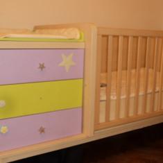 Vand pat lemn masiv (adus din spania) - Patut lemn pentru bebelusi, 1-3 ani, Alte dimensiuni, Crem