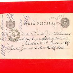 CP-7=ROMANIA 1889 Carte postala circulata Vaslui-Bucuresti