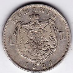 5)Moneda argint 1 leu 1894 - Moneda Romania