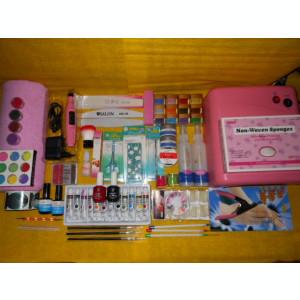 Set kit complet unghii false gel,Lampa ,Freza,12 gel color,12 glitter,12 culori acrilice+BONUS 2 X oja permanenta