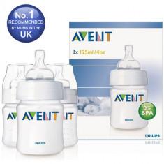 Set 3 biberoane Philips Avent 125 ml cu tetine silicon nou-nascuti-biberon, 0-6 luni, Fara BPA