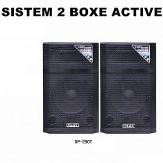 SISTEM 2 BOXE ACTIVE/AMPLIFICATE, MIXER INCLUS, MP3 PLAYER, 2 MICROFOANE BONUS!