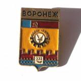 INSIGNA RUSIA URSS CCCP STEMA REGIUNE / ORAS VORONEJ - 18 x 30 mm **