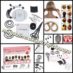 SET PROFESIONAL TOTAL HAIR MAKEOVER HAIRAGAMI 12 PIESE CD COAFURI COC PERFECT - Perie de par
