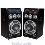 SISTEM 2 BOXE ACTIVE/AMPLIFICATE CU MIXER,ORGA LUMINI,MP3 PLAYER,BASS 10 INCH,280 WATT+ 2 MICROFOANE BONUS!