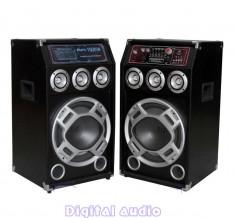 SISTEM 2 BOXE ACTIVE/AMPLIFICATE CU MIXER,ORGA LUMINI,MP3 PLAYER,BASS 10 INCH,280 WATT+ 2 MICROFOANE BONUS! foto