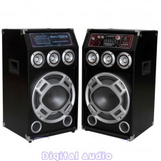 SISTEM 2 BOXE ACTIVE/AMPLIFICATE CU MIXER, ORGA LUMINI, MP3 PLAYER, BASS 10 INCH, 280 WATT+ 2 MICROFOANE BONUS!