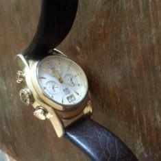 Movado ESQ - Ceas barbatesc Movado, Elegant, Quartz, Placat cu aur, Piele, Cronograf
