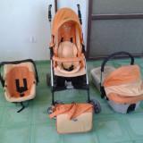 Carucior Giordani 3 in 1 - Carucior copii 3 in 1, Pliabil, Portocaliu