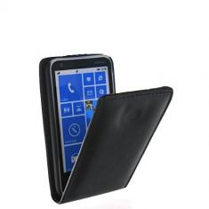 Toc piele neagra husa flip Nokia Lumia 620 + folie protectie ecran