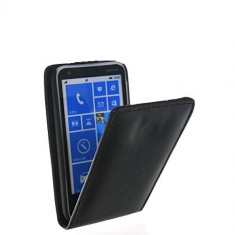 Toc piele neagra husa flip Nokia Lumia 620 + folie protectie ecran - Husa Telefon Nokia, Negru