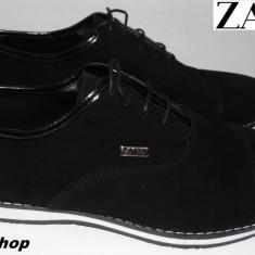 Pantofi ZARA 100% Piele Intoarsa Model NOU de Sezon - Negru / Bleumarin !!! - Pantofi barbat Zara, Marime: 40