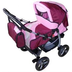 Carucior Sugar Landou - Carucior copii Landou Baby Care, 0-6 luni, Roz, Maner reversibil