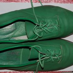 Pantofi barbati vintage verzi primavara marimea 43 culoarea verde trendy chic colorati - Pantof barbat River Island, Piele naturala
