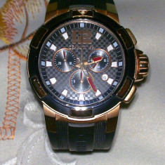 Cerutti Chronograph - Ceas barbatesc Cerruti, Lux - sport, Quartz, Placat cu aur, Cauciuc, Cronograf