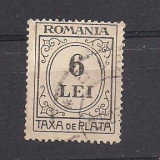 (No8) timbre-Romania  -Taxa de plata 6 LEI  - stampilata