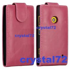 Livrare gratuita! Husa toc flip roz pentru Nokia Lumia 520, inchidere magnetica + laveta microfibra + stylus pen - Husa Telefon