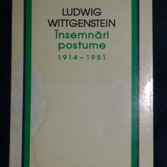 L. Wittgenstein INSEMNARI POSTUME (1914-1951) Ed. Humanitas 1995
