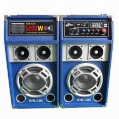 MEGA SET 2 BOXE ACTIVE/AMPLIFICATE CU MIXER SI MP3 PLAYER INCLUS, STICK SI CARD + MICROFON WIRELESS BONUS. - Echipament karaoke