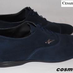 Pantofi CESARE PACIOTTI 100% Piele Intoarsa Naturala - Bleumarin / Negru !!! - Pantofi barbat Cesare Paciotti, Marime: 41, 42, Culoare: Albastru, Piele naturala