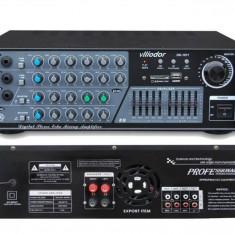STATIE AMPLIFICARE KARAOKE 130 WATT CU MIXER INCORPORAT, EFECTE VOCE, INT, MICROFOANE, MP3 PLAYER STICK USB, CARD - Echipament karaoke