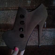 Pantofi cu platforma - Pantof dama, Culoare: Maro, Marime: 35, Maro, Cu toc