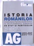 """ISTORIA ROMANILOR. INDRUMAR PENTRU ADMITEREA IN INVATAMANTUL SUPERIOR DE STAT SI PARTICULAR"", V. Bucur / N. Cristea / M. Ivan, 1999. Absolut noua, Alta editura"