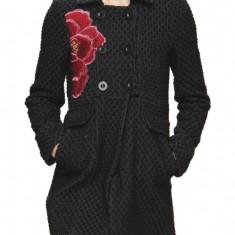 Palton DESIGUAL lana negru bleumarin scurt jacheta geaca iarna-nou eticheta M38 - Palton dama