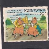 No(02)timbre-Romania 1986--L.P.1153.-WALT DISNEY II- Purcelusul Peter, Animatii