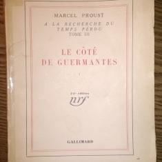 Carte - Marcel Proust - A la recherche du temps perdu - Tome III - Le cote de Guermantes I [1934]