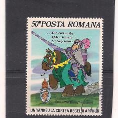 No(2)timbre-Romania 1986--L.P.1153-WALT DISNEY II-deparaiate, Animatii