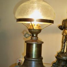 Lampa veioza veche Germania alama si lemn