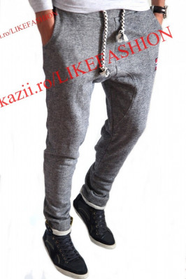 Pantaloni trening cu turu lasat tip ZARA MEN 3  - pantaloni Slim Fit - pantaloni cu turu -  Modele Fashion - Editie limitata-LICHIDARE DE STOC foto