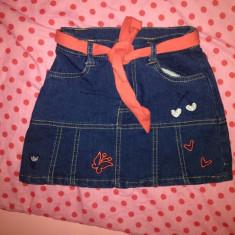 Fustita jeans, noua, pt. 3-4 ani (merge mai mult), Culoare: Bleumarin