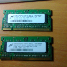 Kit 2 x 512 MB DDR2 SODIMM - Memorie RAM laptop Micron, 1 GB, 533 mhz, Dual channel