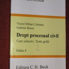 DREPT PROCESUAL CIVIL CURS SELECTIV TESTE GRILA - VIOREL MIHAI CIOBANU, GABRIEL BOROI (2009 ) .EDITIA 4 - Carte Drept procesual civil