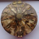 Cutie veche de colectie - Caseta bijuterii de os cu insertii de alama - Arta din Sticla