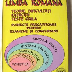 """""""LIMBA ROMANA. TEORIE, DIFICULTATI, EXERCITII, TESTE GRILA. Subiecte pregatitoare pt. examene si concursuri"""", M.Arnautu / E.Sandu, 2002. Absolut noua, Alta editura"""