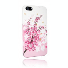 Husa florala silicon rigid  iphone 5 + folie protectie ecran