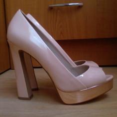 Pantofi Zara - Pantof dama Zara, Culoare: Nude, Marime: 36, Nude, Cu toc