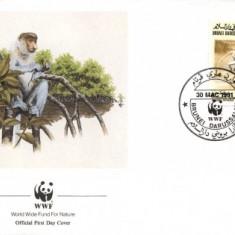 WWF FDC complet serie /4buc/ Brunei 1991 - maimuta