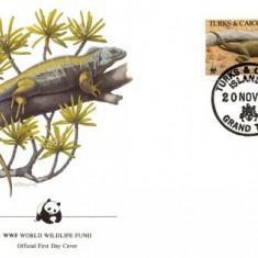WWF FDC set /4buc./ 1986 Turk&caicos Isl - iguana