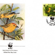 WWF FDC complet set /4 buc./ 1991 Barbados - birds