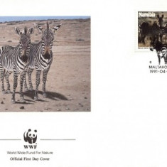 WWF FDC 1991 Namibia - Zebra complet serie - 4 buc. FDC