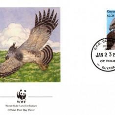 WWF FDC complet serie / 4 buc./ Guyana 1990 - harpiye eagle